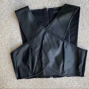 Bcbg black crop top with cutouts size S